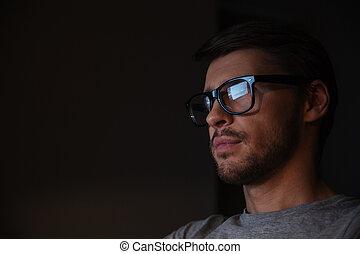 bril, man, mooi, scherm, het kijken