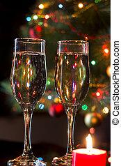 bril, met, champagne