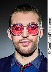 bril, met, sterretjes