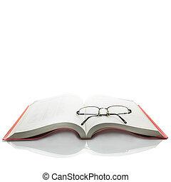 bril, op, opengeslagen boek