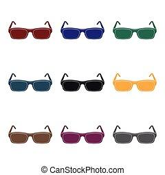 bril, pictogram, in, black , stijl, vrijstaand, op wit, achtergrond., bibliotheek, en, boekhandel, symbool, liggen, vector, illustration.