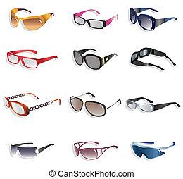 bril, spotprent, pictogram
