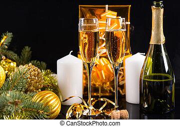 bril van de champagne, met, kerst decoraties