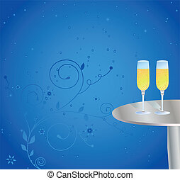 bril van de champagne, op de tafel