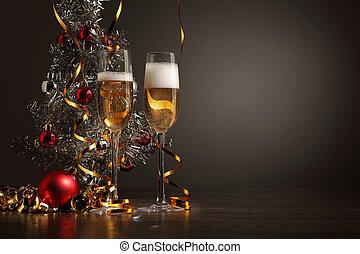 bril van de champagne, op, jaarwisseling, feestje