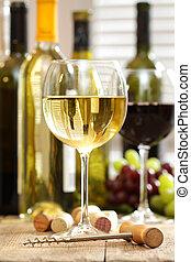 bril van de wijn, met, flessen