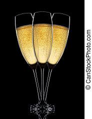 bril, van, het fonkelen, champagne, met, bellen, black