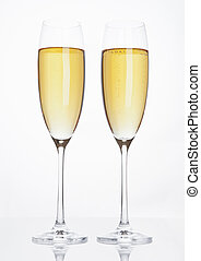 bril, van, het fonkelen, champagne, met, bellen, witte