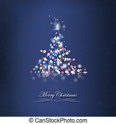 brilhante, árvore natal, cartão