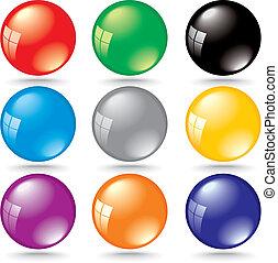 brilhante, 3d, cor, bolhas, com, janela, reflexão