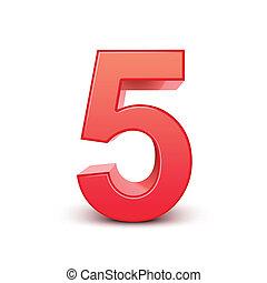 brilhante, 5, número, vermelho, 3d