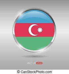 brilhante, azerbaijão, bandeira, vetorial, lustroso, emblema