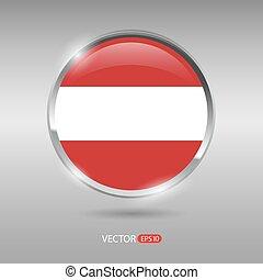 brilhante, bandeira áustria, vetorial, lustroso, emblema
