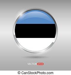 brilhante, bandeira estónia, vetorial, lustroso, emblema