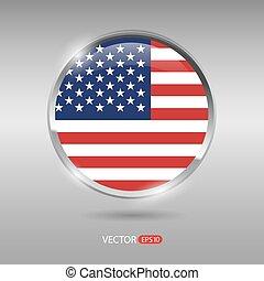 brilhante, bandeira eua, vetorial, lustroso, emblema