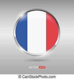 brilhante, bandeira frança, vetorial, lustroso, emblema
