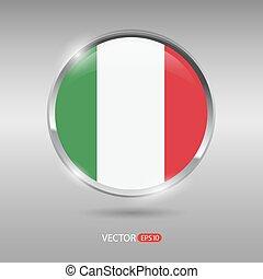 brilhante, bandeira itália, vetorial, lustroso, emblema
