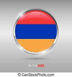 brilhante, bandeira, vetorial, lustroso, arménia, emblema