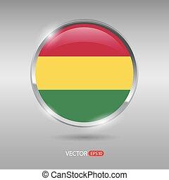 brilhante, bandeira, vetorial, lustroso, bolívia, emblema