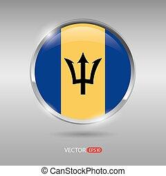 brilhante, bandeira, vetorial, lustroso, emblema, barbados