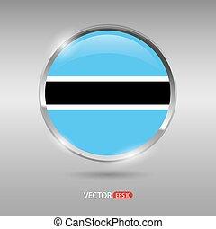 brilhante, bandeira, vetorial, lustroso, emblema, botsuana