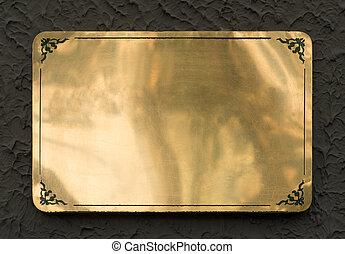 brilhante, bronze, metal, textura, sinal
