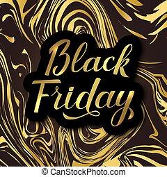 brilhante, brush., sexta-feira, banner., mármore preto, calligraphic, lettering, caligrafia, venda, ouro, vetorial, experiência.