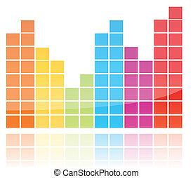 brilhante, coloridos, equalizador