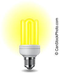 brilhante, energia, luz, poupar, bulbo