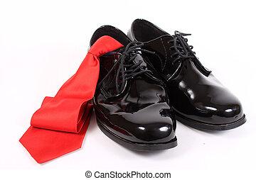 brilhante, homens, vistoso, sapatos, e, laço vermelho