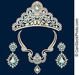brilhante, jogo, jewelery, colar, brincos, diadema, pedras...