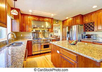 brilhante, luxo, cozinha, sala, com, ilha