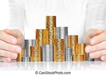 brilhante, novo, dinheiro, poupar, ou, cuidado, conceito, closeup