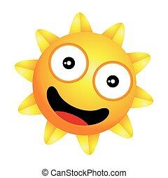 brilhante, pequeno, feliz, sol, vetorial