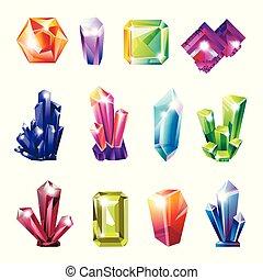 brilhante, precioso, natural, cristais, de, tudo, formas, jogo