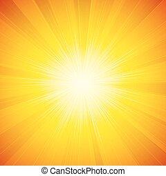 brilhante, sol, vetorial