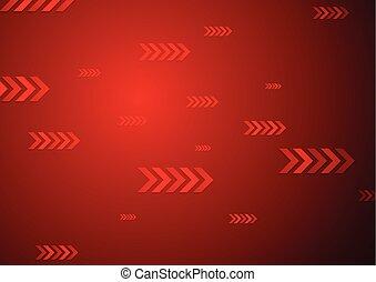 brilhante vermelho, tech, fundo, com, setas
