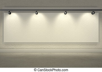 brilhantemente, cópia, holofotes, espaço, parede, iluminado, fazendo, em branco, -3d