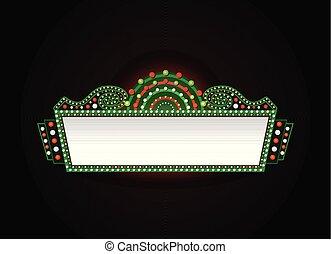 brilhantemente, teatro, cinema, sinal néon, glowing, retro, natal