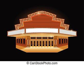 brilhantemente, teatro, cinema, sinal néon, glowing, retro