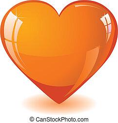 brilhar, laranja, coração
