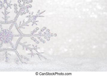 brilhar, snowflake, em, neve