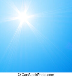 brilhar sol, em, céu azul