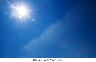 brilhar, sol, em, claro, céu azul, com, espaço cópia