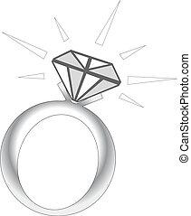 brilho, anel, diamante