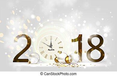 brilho, baubles., luz festiva, meia-noite, clock., fundo, ano, novo, feriado