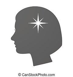 brilho, cabeça, ícone, femininas, isoalted