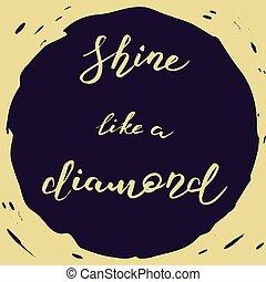 brilho, diamante, semelhante