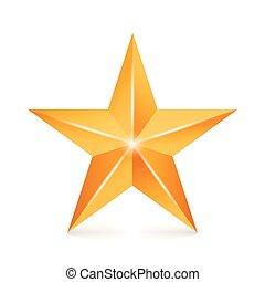 brilho, dourado, sinal, estrela, Símbolo, amarela, isolado, decoração, fundo, vetorial, branca,  3D, realização, ícone
