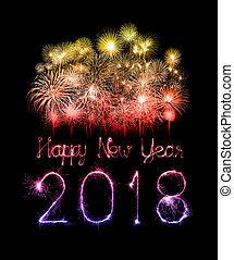 brilho, escrito, fogo artifício, 2018, ano, novo, feliz